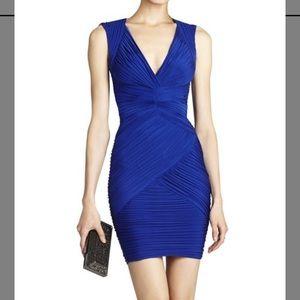 BCBG Edesa Shirred V-Neck Cocktail Dress Blue